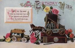 AL06 Greetings - Birthday Wish - Model Of Fire Engine And Bus - Birthday