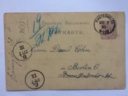 GERMANY 1880 Postcard Finsterwalde To Berlin - Re-direction Marks - Briefe U. Dokumente