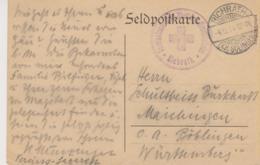 Feldpostkarte Mit Stempel Rotes Kreuz Von Richrath Nach Böblingen - Red Cross