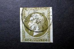 FRANCE 1860 N°11 OBL. (NAPOLÉON III. SECOND EMPIRE. 1C OLIVE SUR AZURÉ. LÉGENDE EMPIRE FRANC. NON DENTELÉ) - 1853-1860 Napoléon III