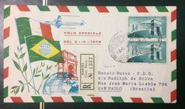 STORIA POSTALE - 1958 REPUBBLICA L.175 VOLO VISITA PRESIDENTE IN BRASILE - 6. 1946-.. Repubblica