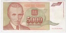 Yugoslavia 5000 Dinara 1993 (5) P-128 /010B/ - Jugoslawien