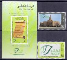 2012 QATAR 90 Years Of Qatari Endowment Deed Complete Set 2 Values  +1 Souvenir Sheet MNH - Qatar