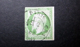FRANCE 1854 N°12 OBL. (NAPOLÉON III. SECOND EMPIRE. 5C VERT SUR VERDÂTRE. LÉGENDE EMPIRE FRANC. NON DENTELÉ) - 1853-1860 Napoléon III