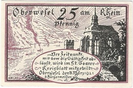Alemania (NOTGELD) - Germany 25 Pfennig Oberwessel 18-3-1921 Dnb 1004 2 UNC - [11] Emisiones Locales