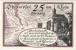Alemania (NOTGELD) - Germany 25 Pfennig Oberwessel 18-3-1921 Dnb 1004 2 UNC Ref 3706-1 - [11] Lokale Uitgaven