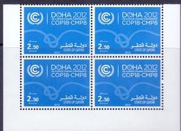 2012 QATAR Un Climate Nations Change Conference Block Of 4 Corner MNH - Qatar