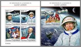 TOGO 2019 MNH Alexei Leonov Apollo Soyuz Space Raumfahrt Espace M/S+S/S - OFFICIAL ISSUE - DH1928 - Afrique