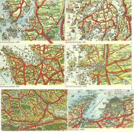 Sweden Kart-kort No 18, 19, 20, 36, 62, 78  - Six Cards With MAP   - Unused - Zweden