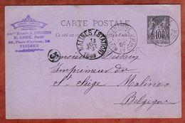 P 8 Allegorie, Vendome Nach Malines 1889 (77322) - Ganzsachen