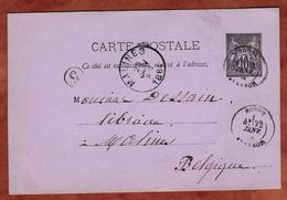 P 8 Allegorie, Rodez Nach Malines 1884 (77325) - Postal Stamped Stationery