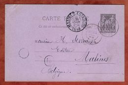 P 8 Allegorie, Narbonne Nach Malines 1889 (77326) - Postal Stamped Stationery