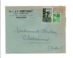 AFFRANCHISSEMENT COMPOSE SUR LETTRE A EN TETE DE ANGOULEME-louvel 1961 - Marcophilie (Lettres)