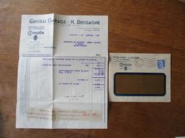 CITROËN CENTRAL GARAGE-H. DUSSAGNE LIMOGES 6-7-8-10 Bd DE FLEURUS 17 Bd GEORGES-PERIN FACTURES DU 31/1/1950 ET ENVELOPPE - 1950 - ...
