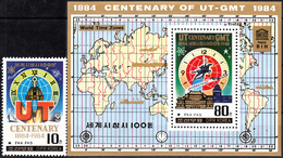 NORTH KOREA 1984, 100th Anniversary Of GREENWICH MERIDIAN, COMPLETE, MNH SET With BLOCK In GOOD QUALITY, *** - Corea Del Nord