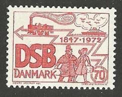 DENMARK 1972 TRAINS DANISH STATE RAILWAYS SHIPS SET MNH - Denmark