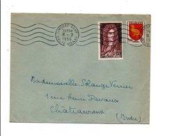AFFRANCHISSEMENT COMPOSE SUR LETTRE DE LIMOGES GARE 1956 - Marcophilie (Lettres)