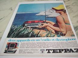 ANCIENNE  PUBLICITE ELECTROPHONE ET RADIO DE TEPPAZ 1967 - Autres
