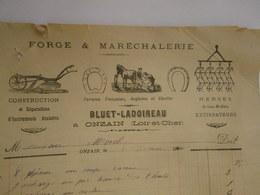 BLUET LADOIREAU à ONZAIN ( Loir Et Cher ) Forge & Maréchalerie Mémoire De Travaux Novembre 1900 - Petits Métiers