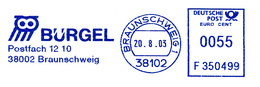 Freistempel 7731 Bürgel Inkasso Eule - Poststempel - Freistempel