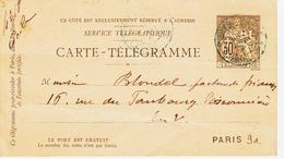 France, Carte Telegramme En 1895,  30c    TB - Autres