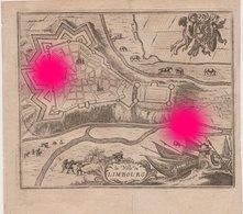 Plan De La Ville Limbourg Dolhain Gravure Originale Vers 1750  RARE - Documents Historiques