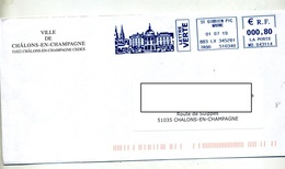 Lettre Flamme Ema Saint Gibrien  Mairie ? Entete Mairie Chalons - Poststempel (Briefe)