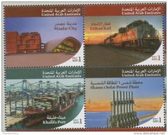 UAE , 2015, MNH,STRATEGIC PROJECTS OF H.H. SHEIKH KHALIFA, TRAINS, SHIPS, SOLAR POWER,4v - Trains