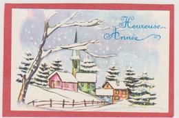 877 _ MIGNONETTE HEUREUSE ANNEE MAISONS EGLISE SAPINS DANS PAYSAGE ENNEIGE - Neujahr