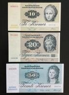 DENMARK SET 10 20 50 KRONOR  BANKNOTES 1977-1997 UNC - Danimarca