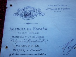 1888 PECASTAING MADRID AGENCIA ESPANA LETTRE FACTURE MANUSCRIT-GET- PEPPERMINT à REVEL ENVOI A BARSELONA Doc Commercial - España
