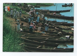 1960year POSTCARD EX PORTUGUESE AFRICA AFRIKA AFRIQUE  ANGOLA CALUMBO RIVER QUANZA STREET MARKET & BOATS - Angola