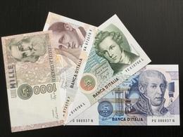 ITALY SET 1000 2000 5000 10000 LIRE  BANKNOTES 1982-1990 UNC - [ 2] 1946-… : Republiek