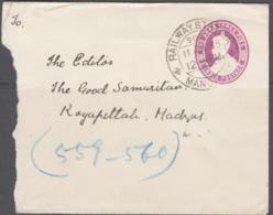 TRAINS- BURMA -1935 -  1 ANNA 3 PIES STATIONERY ENVELOPE TO ROYAPITTALI  WITH RAILWAY MANDALAY POSTMARK - Trains