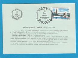 """COMMUNIQUE DE LA RÉGIE DES POSTES(59).CACHET """"ROUTE CHARLEMAGNE ,6593 MACQUENOISE"""""""". - Cartas"""