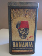 Boite Métal Ancienne Publicitaire BANANIA FARINE Haut 17 Cm - 9,5 X 9,5 Cm - Boîtes