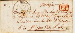 France, De Rochefort En 1835 Type 13 En PP Pour St Jean De Luz  TB - Postmark Collection (Covers)