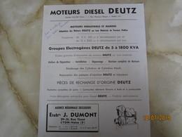 Moteur Diesel Deutz Societe Valcke 1 RUE BERGER PARIS 17E Publicite   -----------------------19 Meni - Vieux Papiers