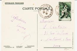 France, De Vimy, Monument Canadien , Entier Postal Oblitéré Du 26 7 36  TB - Entiers Postaux