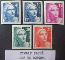 R1591/365 - 1945/1946 - TYPE MARIANNE De GANDON - N°725 à 729 TIMBRES NEUFS** ND ☛ 2 Timbres Signés Par Un Expert - France