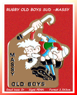SUPER PIN'S RUGBY : Equipe De SUPER RUGBY MASSY OLD BOYS émail Base Or, Signé PENN, Format 2,5X3cm - Rugby