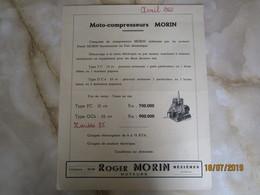 Moto Compresseurs Morin  à Mezieres Ardennes Publicité   -----------------------19 Meni - Vieux Papiers