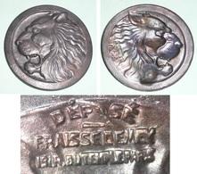 Rare Ancienne Broche En Métal Embouti, Tête De Lion, Fraisse- Demey Paris - Broches