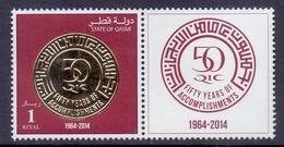 2014 QATAR 50 Years On Qatar Insurance Company 1 Values +With  Lipple MNH - Qatar