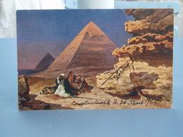 Cpa Couleur Les Pyramides De Gizeh 1922 - Pyramids