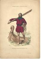 Gravure Ancienne Costumes De Paris Batelier Parisien Barque Bateau Métier Ancien Marinier Embarcation - Old Paper