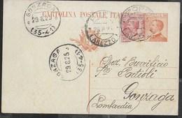 STORIA POSTALE REGNO - ANNULLO FRAZIONARIO DC - GONZAGA (35-41) 28.08.25 DA POPPI/(AREZZO) SU INTERO MICHETTI - 1900-44 Vittorio Emanuele III