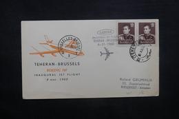 IRAN - Enveloppe 1er Vol Téhéran / Bruxelles En 1960 , Affranchissement Plaisant - L 37380 - Irán