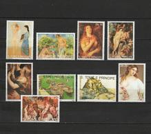 Sao Tome E Principe (St. Thomas & Prince) 1990 Paintings Titian - Tiziano, Picasso, Rubens, Renoir Etc. Set Of 9 MNH - Art