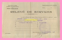 RELEVE DE SERVICES  De Houilleres Du Bassin Du Nord Pas De Calais , Groupe D  Henin- Lietard  1948 - Zonder Classificatie